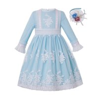 Wholesale dresses girl age 12 resale online - Pettigirl New Light Blue Embroidery Dress Girl Boutique Clothes for Girls Age to Year Children Clothing G DMGD211 A468