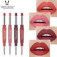 lábio escuro liner venda por atacado-New Double-End Batom Matte Lápis Maquillage Lip Liner Batom Longa Duração Sexy Red Nude Dark Red Beleza Matte Maquiagem