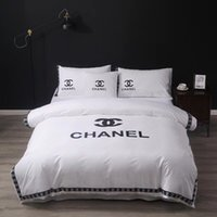 Wholesale white embroidered bedding resale online - Black White New All Cotton Bedding Suit Fashion Spring And Summer Bed Cover Suit Man And Women Embroidery Bedding