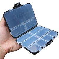 conectores de mosca al por mayor-16 compartimentos de plástico caja de almacenamiento 16 cuadrículas pesca con mosca señuelo de cuchara Gancho Cebo Conector Pesca cajas de trastos caja a prueba de agua