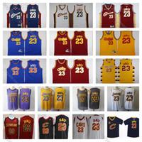 ingrosso cavs james-Maglia vintage Cavaliers LeBron James Jersey 23 Cleveland Maglie da basket a buon mercato Blu Rosso LA Lakerses LeBron James CAVS Camicia cucita S-XXXL