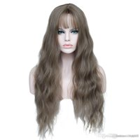 Wholesale kinky bangs resale online - Long curly fluffy fashion wig26 quot Long Mix Purple Womens Wigs with Bangs Heat Resistant Synthetic Kinky Curly Wigs for Women African American