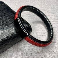 mens paslanmaz çelik manyetik bilezik toptan satış-Trendy Siyah Kırmızı Örgülü Deri Bilezik Erkek Bileklik Takı Paslanmaz Çelik Manyetik Toka Erkek Hediye pulseras hombre L0008