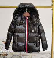 yılbaşı örtüsü toptan satış-Markalı Çocuklar Donw Naylon Ceket Tasarımcı Erkek Kız Fermuar Ön Kapanış Kış Kapşonlu Dış Giyim Çocuk Cep Kısa Ceket