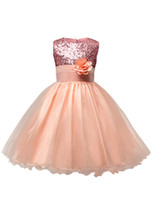 Wholesale teenagers party dresses for sale - Group buy Teenagers Girls Sequins FLower Long Wedding Party Princess Dresses Kids boutique Cosplay Costume Kids Designer Clothes Girls Prom Dress