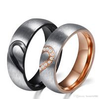 ingrosso amore anelli di promessa wedding wedding-Real Love Acciaio inossidabile 316L Mezza cuore Donna Coppia di anelli in cristallo per fidanzamento nuziale Hot Promise Band Ring