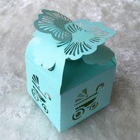 ingrosso nastro di angeli del bambino-100 Pz / lotto Scatole di caramelle delicate Scatola di cioccolato Baby shower Design festa di compleanno Farfalla Angelo Decorazione di cerimonia nuziale con nastro