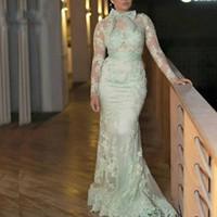 Wholesale fashion mint lace plus size mermaid for sale - Group buy vestidos de festa Evening Dresses Mint Green Illusion Islamic Dubai Kaftan Saudi Arabic Mermaid Evening Gown Prom Dress