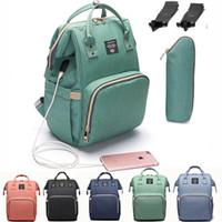 USB Fashion Mummy Striped Maternity Nappy Bag Large Capacity Baby Bolsa Maternidade Designer Nursing Bag For Mother Baby bag