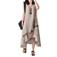 mujeres pintando faldas al por mayor-2019 Nación Vestido de viento Mujer Tinta Pintura Literatura Algodón fácil Codificar longitud de falda de fondo