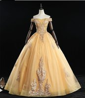 Wholesale evening gowns backs for women for sale - Group buy Quinceanera Dresses for Women Off Shoulder Sweet Sixteen Prom Gown with Gold Embroidery Tulle Ball Gown Beaded Vintage Evening Dress