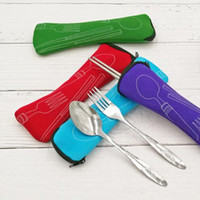 ingrosso acciaio inossidabile portatili-Di alta qualità eco-friendly pranzo all'aperto portatile in acciaio inox bacchette cucchiaio forchetta da tavola viaggio posate set sacchetto cuscino pacchetto