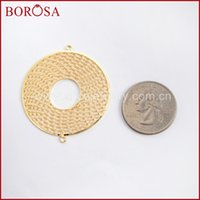 Wholesale sliding bails jewelry resale online - BOROSA mm Round Shape Gold Color Brass Hollow Ring Connectors Double Charms Bails Jewelry Findings PJ098