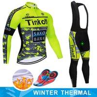 ingrosso mtb saxo jersey banca-2019 Inverno Saxo Bank Tinkoff del panno morbido termico di riciclaggio Jersey Ropa Ciclismo MTB manica lunga Mantenere Bike Wear Warm vestiti della bicicletta