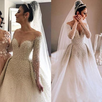 Wholesale plus size wedding dresses online - 2019 New Luxury A Line Wedding Dresses Pearls Sheer Neck Illusion Plus Size Long Sleeves With Overskirts Detachable Train Sexy Bridal Gowns