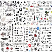 etiqueta sexy de dibujos animados al por mayor-800 estilos Hot Small Sexy Lips Leaf Black Cartoon Tattoo Sticker Cute Star Tattoo Stickers Love Women Body Finger Art Waterproof Tatoo Kid