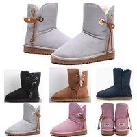 ingrosso stivali di neve alti-UGG snow boots Stivaletti donna WGG Boots Australia ragazza delle donne di stivali alti classici boot Neve grigio inverno Bow NEVE stivali di pelle pattini esterni 5-10