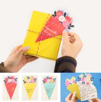 Wholesale free paper birthday cards resale online - Beautiful Paper Bouquet Flower Shaped Greeting Card Party Favor Birthday Wedding Gifts Handmade Gift Cards
