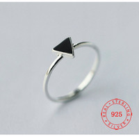 Wholesale china 925 jewellery resale online - Best seller simple real sterling silver ring designs stackable Love triangle ring with adjustable size Designer jewellery