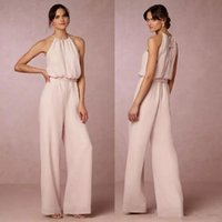 Wholesale white suits for weddings for sale - Group buy Cheap Blush Pink Chiffon Jumpsuits Bridesmaid Dresses Halter Pant Suit Long Gowns For Wedding Party Guest custom made Elegant