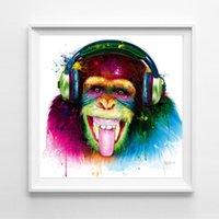 macacos vivos venda por atacado-Canvas Pintura animal da aguarela do macaco Abstract Pictures Posters Arte da parede para sala de estar Quarto Prints decorativas NO QUADRO