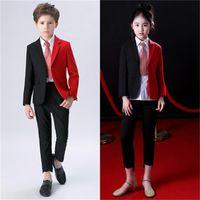 junge modell mädchen kleider großhandel-Kinderanzüge Jungen personalisierte Kleid große Kinder Mädchen Anzug Laufsteg Show Leistung Kleid Modell Mode