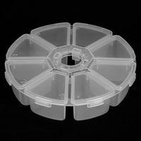 caixa de brilho vazia venda por atacado-8 Grids Vazio Redondo Claro Nail Art Storage Box Prego Glitter Lantejoulas Dicas Decoração Recipiente Manicure Organizador De Armazenamento