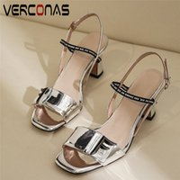 Wholesale thick heel working shoes women resale online - VERCONAS Genuine Leather High Quality Thick Heels Women Lace Up Working Shoes Sandals Summer Brand Design Slippers Shoes Woman T200327