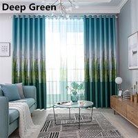 persianas de poliéster venda por atacado-Cedar Print Blackout Curtain Polyester Window Blinds Sala cortinas do quarto de uma peça