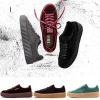 designer calçados creeper venda por atacado-2019 Rihanna Fenty Creeper PM Cesta Clássica Plataforma Sapatos Casuais de Veludo Cracked Camurça De Couro Dos Homens Das Mulheres Designer De Moda Tênis Em Execução