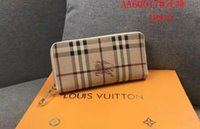 dólares comerciales al por mayor-Ladies classic plaid striped long wallet full zip fashion wallet free post