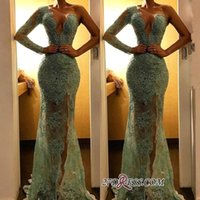 Wholesale new sexy chocolate tulle mermaid for sale - Group buy Sexy One Shoulder Sage Mermaid Formal Evening Dresses New Tulle Sheer Long Sleeves Full Lace Sequins Prom Gowns Side Split Party Wear