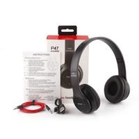 fones de ouvido de fone de ouvido bluetooth tf venda por atacado-p47 sem fio fone de ouvido fones de ouvido de redução de ruído do bluetooth fone de ouvido neckband Gaming Headset Stereo Music Suporte TF