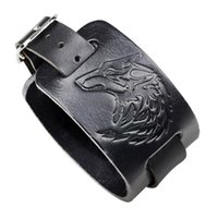wolfskopf armbänder großhandel-Zino Jewelry Wolf Head Geprägte Armband Punk Rock Wind Leder Armband Großhandel Direkter Verkauf der Fabrik