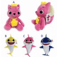 детские игрушки оптовых-4 стиль 26 см~32 см ребенок акула мягкие плюшевые куклы 2018 новый мультфильм акулы фигурку игрушки дети Рождественская вечеринка лучшие подарки Б