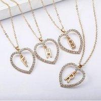 ingrosso choker del gioiello-10 pz moda semplice oro 26 lettera amore cuore collane pendenti doppia collana del choker del rhinestone donne dichiarazione gioiello