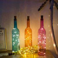 ingrosso illuminazione delle bottiglie di vetro-Wine Glass Lampada Bottiglia Con Light Party 2M 20LED Copper Wire luci della stringa sughero bottiglia a forma di cerimonia nuziale del tappo Home Decor regalo DBC DH0944
