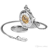 cajas de relojes vintage al por mayor-Nueva Llegada de Plata Suave Doble Estuche Números Romanos Esqueleto Reloj de Bolsillo Mecánico Vintage Reloj Antiguo Regalo para Hombre Mujer con Cadena