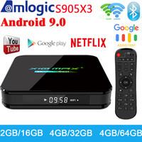 boites tv google achat en gros de-X10 MAX PLUS 4 Go 64 Go Android 9.0 TV Box double WiFi Bluetooth Amlogic S905X3 TV Box 8K Media Player P X96 AIR TX3