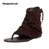 sandalias estilo encaje al por mayor-Cuero genuino de los hombres de estilo romano T-correa Flip Flop Sandalias de gladiador con cordones Sandalias de verano