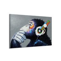 pinturas al óleo del oso al por mayor-Impresiones en HD Carteles de lona Decoración para el hogar Pensamientos de los chimpancés Pinturas Arte de la pared Paisaje Imágenes Salón modular