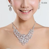 Wholesale necklaces for wedding party for sale - Group buy 15004 Sets Cheap Womens Bridal Wedding Pageant Rhinestone Necklace Earrings Jewelry Sets for Party Bridal Jewelry