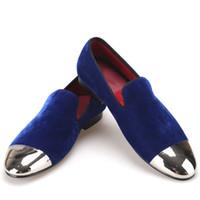 ingrosso abiti banchetti blu-Scarpe fatte a mano scarpe da uomo in velluto nero e blu con punta in metallo oro e argento Fashion Prom e scarpe da uomo mocassini fatte a mano scarpe da uomo