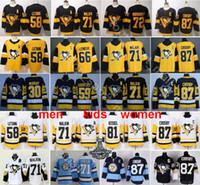 hockey jerseys großhandel-Pittsburgh Penguins Trikot 87 Sidney Crosby Evgeni Malkin Kris Letang Mario Lemieux Matt Murray Jake Güntzel Patric Hornqvist Hockey Black