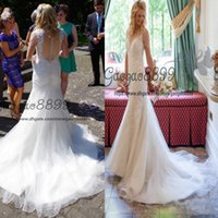 Wholesale wedding dress transparent cap sleeves for sale - 2019 New Design Lace Mermaid Wedding Dresses With Court Train crystals cape sleeves jewel Button Transparent Back Wedding Gowns Custom Made