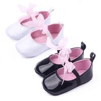 детская обувь оптовых-2019 детские мокасины для младенцев, детская обувь для девочек, луки, обувь для первых ходоков, для малышей, с мягкой подошвой, противоскользящая обувь, белый черный оптом