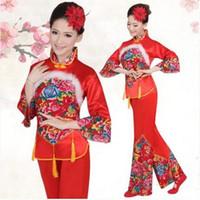rote chinesische kleidung großhandel-New Year Red Hanfu Frauen Chinesischen Traditionellen Anzug Nationalen Jüngeren Stil Kleidung Fan Yangko Bühnentanz Kleidung Kostüme