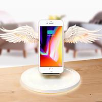 rıhtım ışıkları toptan satış-Kablosuz Şarj Dock 10 W Melek Kanatları Hızlı Şarj evrensel cep telefonu için Gece Işık ile Huawei iPhone Samsung Kitaplık Süs