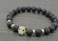 pulseiras de ouro buda venda por atacado-8mm h4242a leopardo prata ouro cobre micro pave cz zircão pulseira de zircônia cúbica preto pedra vulcânica lava pedra Pulseiras de Yoga de Buda