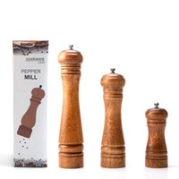 Wholesale Pepper Grinder Wood Manual Salt And Pepper Mill Multi function Cruet quot quot quot Kitchen Tool With Individual Package